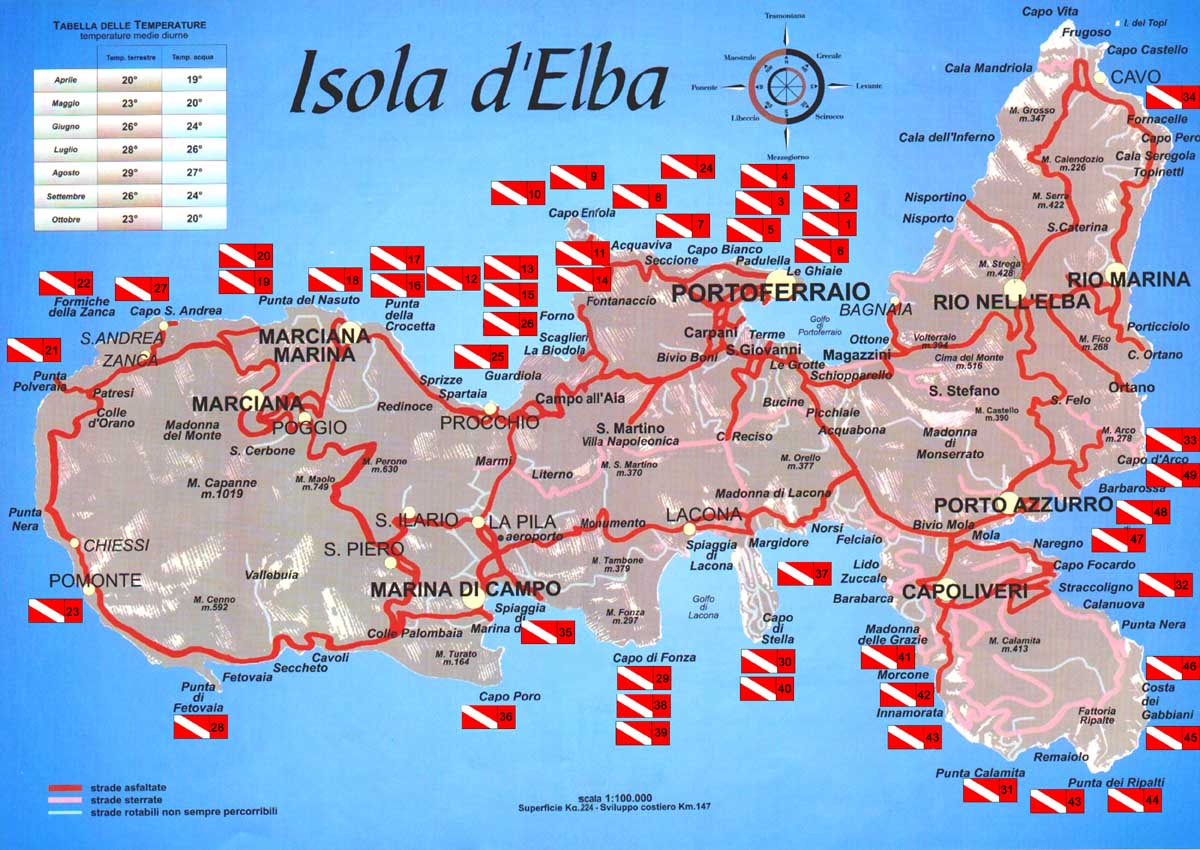 isola d'Elba siti immersioni